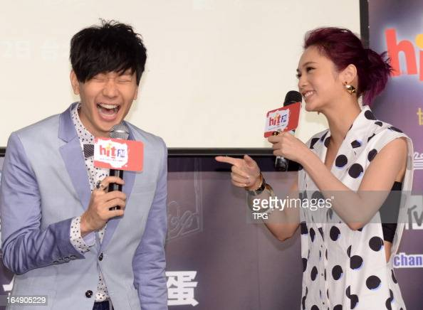 JJ Lam and Rainie Yang attended press conference of 2013 Hito Pop Music Awards in Taipei Taiwan China on Thursday March 28 2013