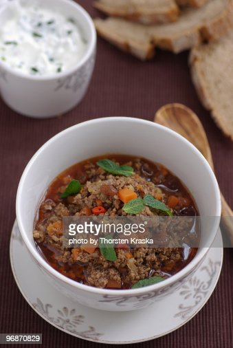 Lam Mincemeat Curry with Mint yogurt : Stock Photo