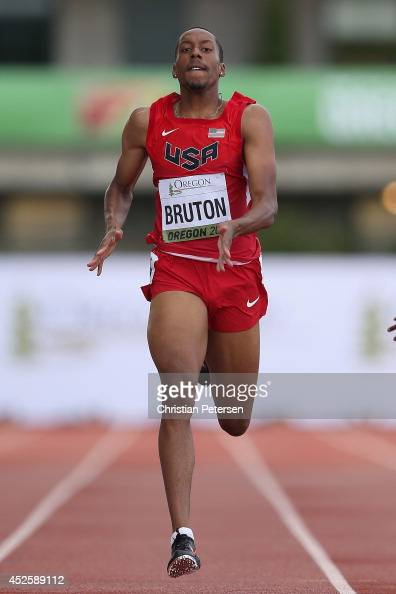 Lamar BrutonGrinnage of USA competes in the men's 400m semifinal during day two of the IAAF World Junior Championships at Hayward Field on July 23...