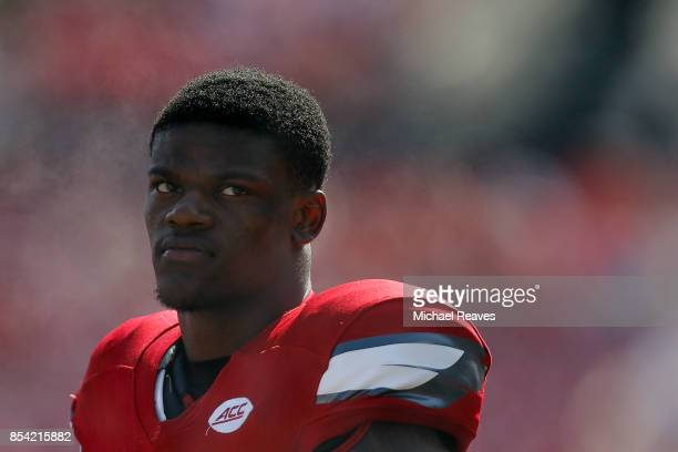 Lamar Jackson of the Louisville Cardinals looks on from the sideline against the Kent State Golden Flashes at Papa John's Cardinal Stadium on...