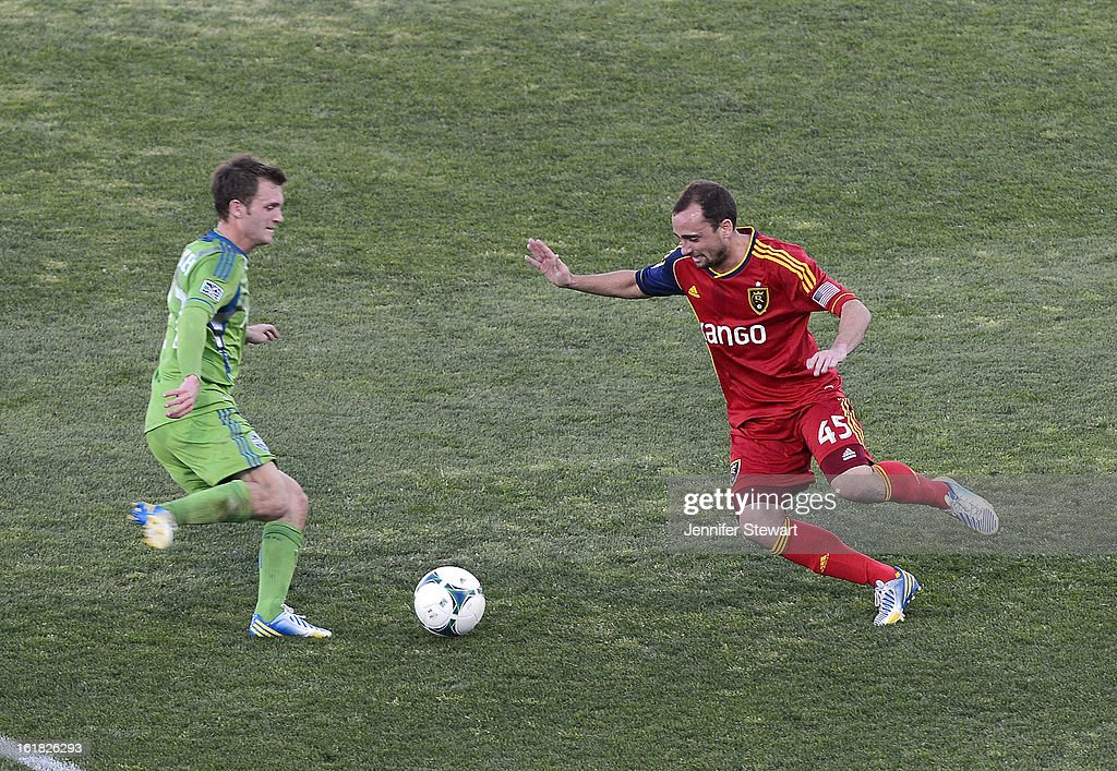 Lamar Neagle #27 of the Seattle Sounders handles the ball against defender Rich Balchan #45 of Real Salt Lake in the second half during FC Tucson Desert Diamond Cup at Kino Sports Complex on February 16, 2013 in Tucson, Arizona. Seattle Sounders defeated Real Salt Lake 2-1.