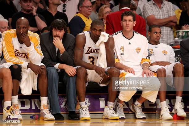 Lamar Odom Adam Morrison Ron Artest Luke Walton and Shannon Brown of the Los Angeles Lakers sit on the bench near the end of the Lakers' loss to the...