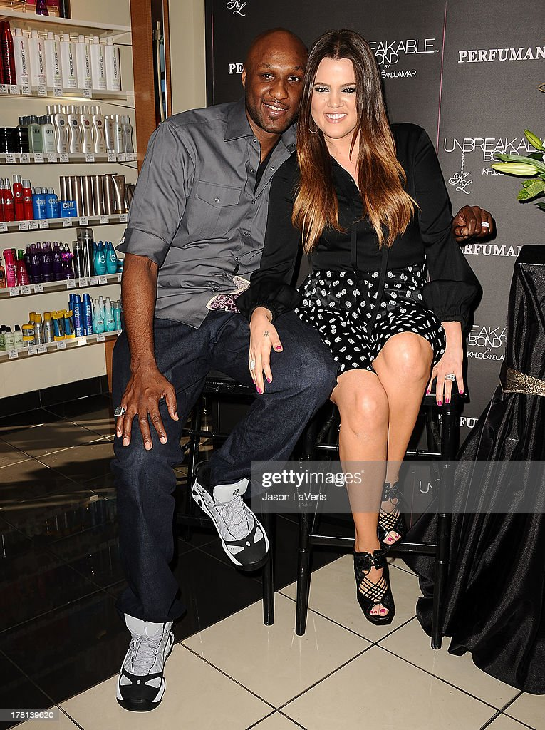 Lamar Odom and Khloe Kardashian make a personal appearance for 'Unbreakable Bond' at Perfumania on June 7, 2012 in Orange, California.