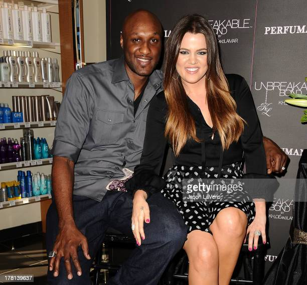 Lamar Odom and Khloe Kardashian make a personal appearance for 'Unbreakable Bond' at Perfumania on June 7 2012 in Orange California