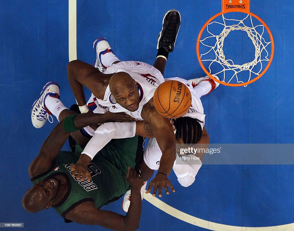 Lamar Odom #7 and Ronny Turiaf #21 of the Los Angeles Clippers block the shot of Kevin Garnett #5 of the Boston Celtics during a 106-77 Clippers victiry for 15 straight wins at Staples Center on December 27, 2012 in Los Angeles, California.