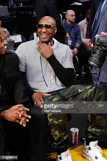 Lamar Odom attends a basketball game between the Miami Heat and the Los Angeles Lakers at Staples Center on March 30 2016 in Los Angeles California