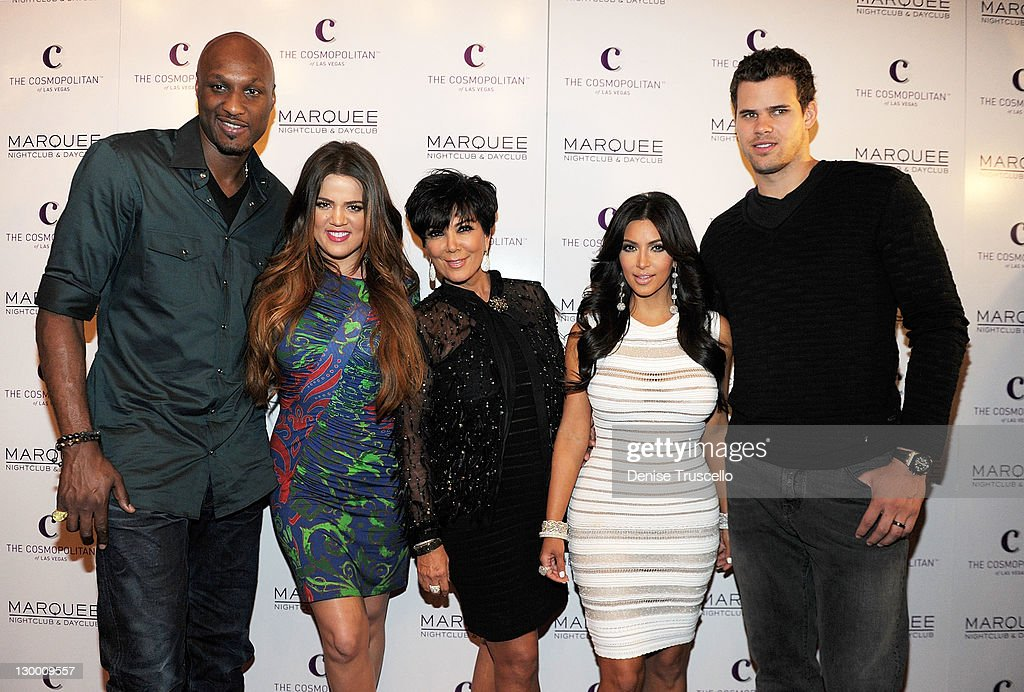 <a gi-track='captionPersonalityLinkClicked' href=/galleries/search?phrase=Lamar+Odom&family=editorial&specificpeople=201519 ng-click='$event.stopPropagation()'>Lamar Odom</a>, <a gi-track='captionPersonalityLinkClicked' href=/galleries/search?phrase=Khloe+Kardashian&family=editorial&specificpeople=3955023 ng-click='$event.stopPropagation()'>Khloe Kardashian</a>, <a gi-track='captionPersonalityLinkClicked' href=/galleries/search?phrase=Kris+Jenner&family=editorial&specificpeople=762610 ng-click='$event.stopPropagation()'>Kris Jenner</a>, <a gi-track='captionPersonalityLinkClicked' href=/galleries/search?phrase=Kim+Kardashian&family=editorial&specificpeople=753387 ng-click='$event.stopPropagation()'>Kim Kardashian</a> and <a gi-track='captionPersonalityLinkClicked' href=/galleries/search?phrase=Kris+Humphries&family=editorial&specificpeople=209199 ng-click='$event.stopPropagation()'>Kris Humphries</a> arrive at <a gi-track='captionPersonalityLinkClicked' href=/galleries/search?phrase=Kim+Kardashian&family=editorial&specificpeople=753387 ng-click='$event.stopPropagation()'>Kim Kardashian</a>'s birthday party at her birthday at Marquee Nightclun at the Cosmopolitan on October 22, 2011 in Las Vegas, Nevada.