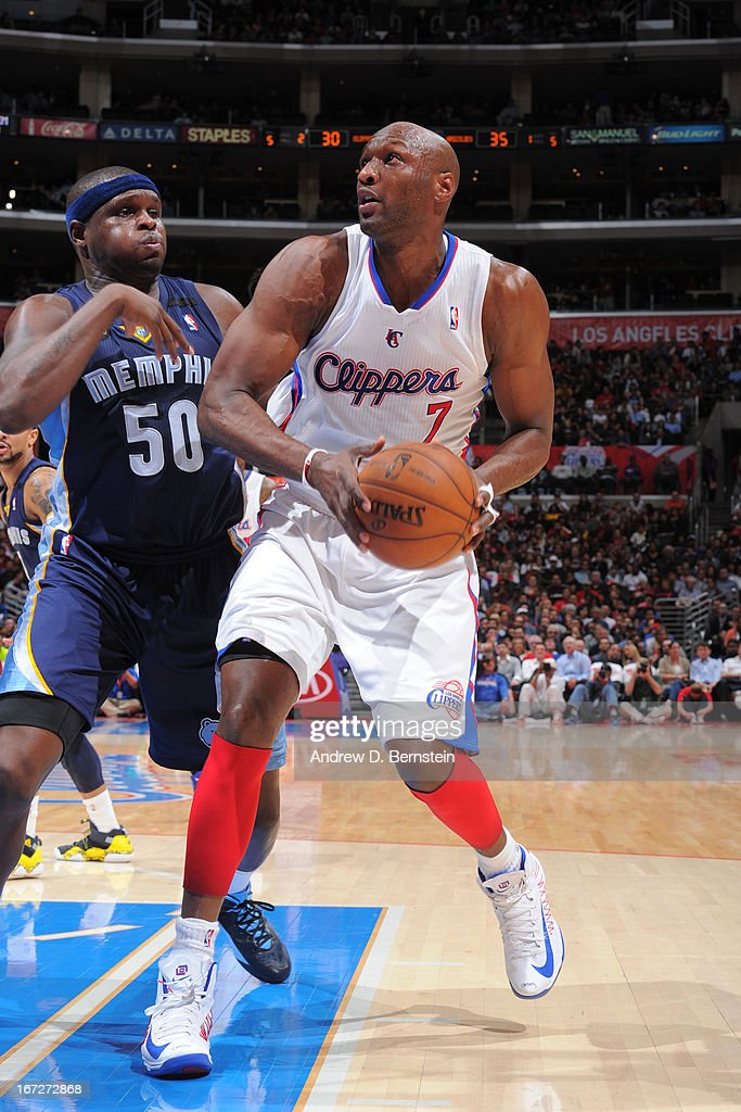 <a gi-track='captionPersonalityLinkClicked' href=/galleries/search?phrase=Lamar+Odom&family=editorial&specificpeople=201519 ng-click='$event.stopPropagation()'>Lamar Odom</a> #7 of the Los Angeles Clippers drives to the basket against the Memphis Grizzlies at Staples Center on March 13, 2013 in Los Angeles, California.