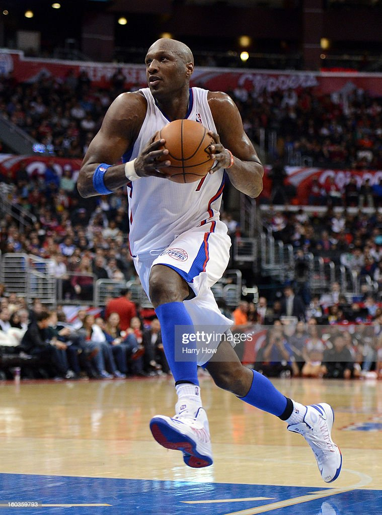 Lamar Odom #7 of the Los Angeles Clippers drives to the basket during the game against the Portland Trail Blazers at Staples Center on January 27, 2013 in Los Angeles, California.
