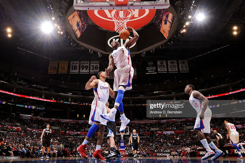 <a gi-track='captionPersonalityLinkClicked' href=/galleries/search?phrase=Lamar+Odom&family=editorial&specificpeople=201519 ng-click='$event.stopPropagation()'>Lamar Odom</a> #7 of the Los Angeles Clippers grabs a rebound against the Minnesota Timberwolves at Staples Center on April 10, 2013 in Los Angeles, California.
