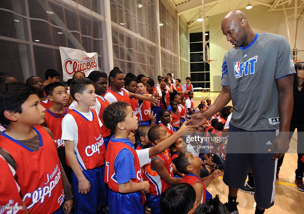 Lamar Odom of the Los Angeles Clippers greets participants during the Jr Clippers Tipoff Basketball Clinic on January 11 2013 at EXPO Center in Los...