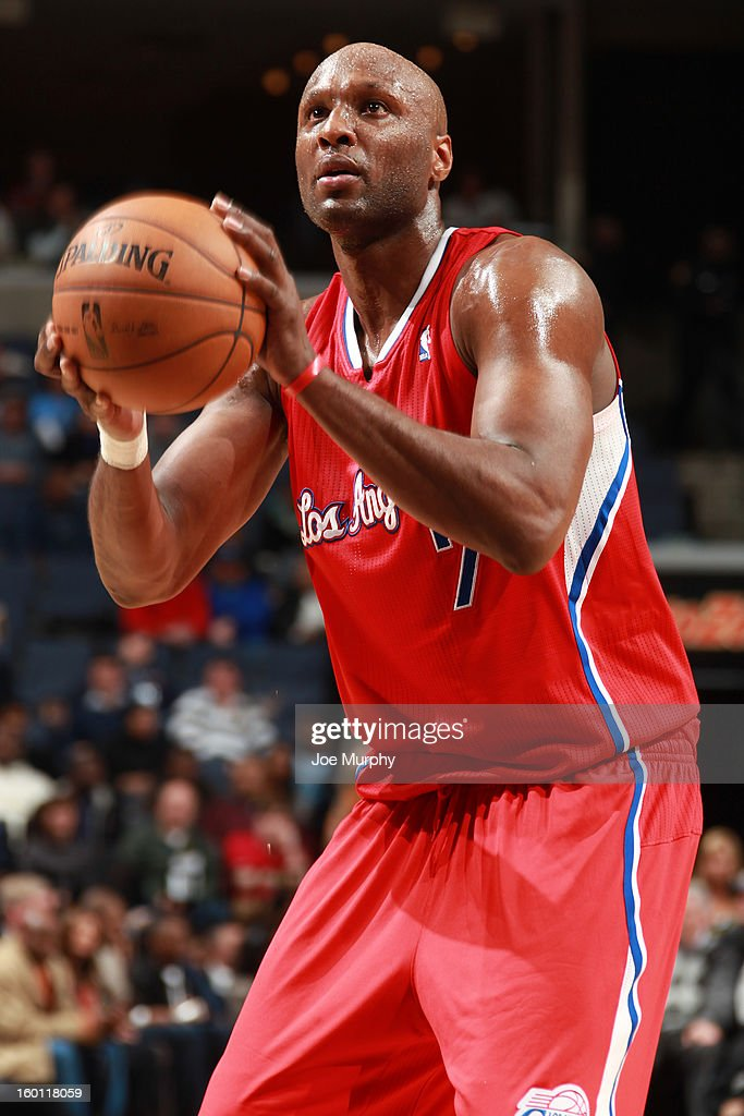 <a gi-track='captionPersonalityLinkClicked' href=/galleries/search?phrase=Lamar+Odom&family=editorial&specificpeople=201519 ng-click='$event.stopPropagation()'>Lamar Odom</a> #7 of the Los Angeles Clippers prepares to shoot a free throw against the Memphis Grizzlies on January 14, 2013 at FedExForum in Memphis, Tennessee.