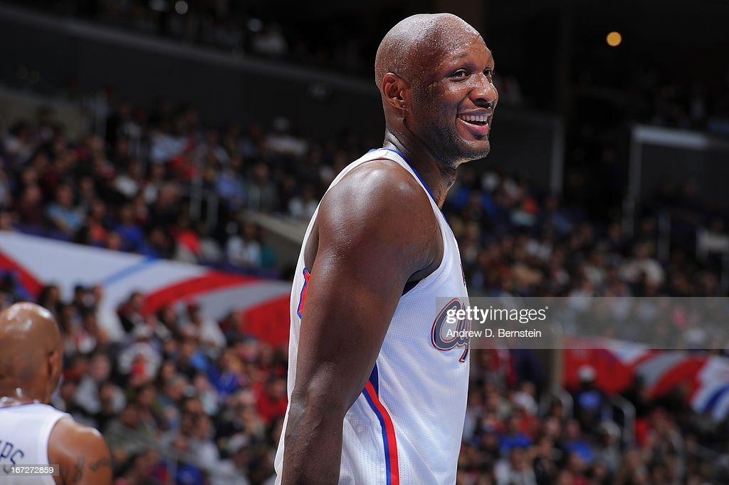 <a gi-track='captionPersonalityLinkClicked' href=/galleries/search?phrase=Lamar+Odom&family=editorial&specificpeople=201519 ng-click='$event.stopPropagation()'>Lamar Odom</a> #7 of the Los Angeles Clippers smiles during the game against the Memphis Grizzlies at Staples Center on March 13, 2013 in Los Angeles, California.