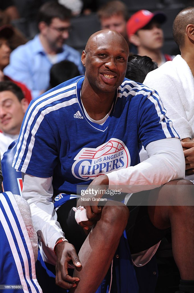 <a gi-track='captionPersonalityLinkClicked' href=/galleries/search?phrase=Lamar+Odom&family=editorial&specificpeople=201519 ng-click='$event.stopPropagation()'>Lamar Odom</a> #7 of the Los Angeles Clippers smiles for the camera against the Detroit Pistons at Staples Center on March 10, 2013 in Los Angeles, California.