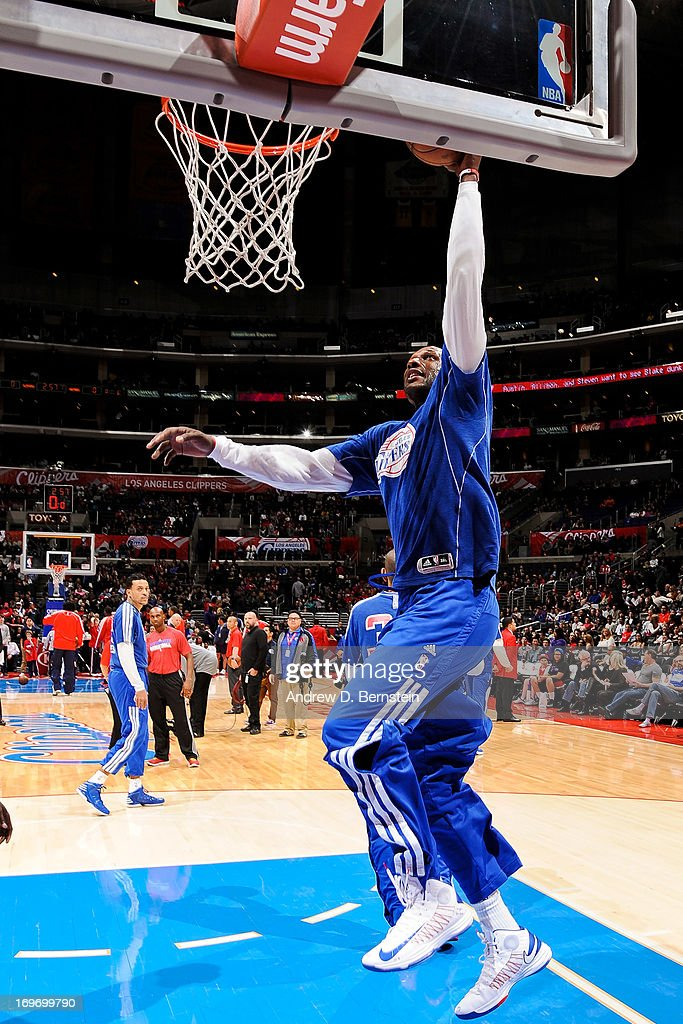 <a gi-track='captionPersonalityLinkClicked' href=/galleries/search?phrase=Lamar+Odom&family=editorial&specificpeople=201519 ng-click='$event.stopPropagation()'>Lamar Odom</a> #7 of the Los Angeles Clippers warms up before playing against the Washington Wizards at Staples Center on January 19, 2013 in Los Angeles, California.