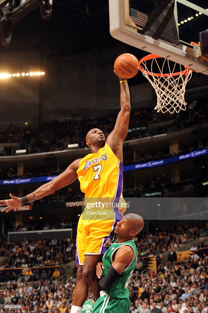 Lamar Odom #7 of the Los Angeles Lakers dunks over Ray Allen #20 of the Boston Celtics at Staples Center on February 18, 2010 in Los Angeles, California.