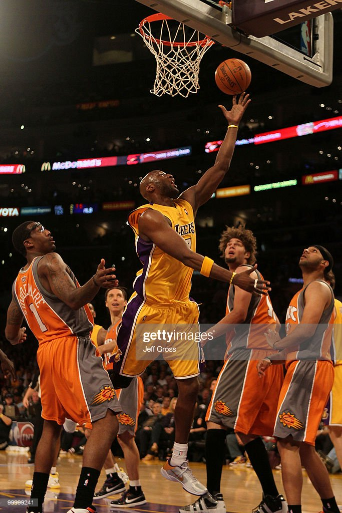 Lamar Odom #7 of the Los Angeles Lakers goes up for a shot against the Phoenix Suns in Game Two of the Western Conference Finals during the 2010 NBA Playoffs at Staples Center on May 19, 2010 in Los Angeles, California.