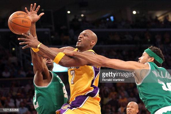 Lamar Odom of the Los Angeles Lakers goes up for a shot between Tony Allen and Rasheed Wallace of the Boston Celtics in Game Seven of the 2010 NBA...