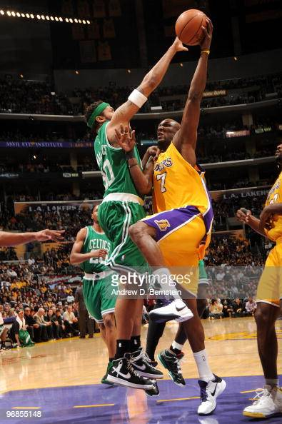 Lamar Odom of the Los Angeles Lakers has his shot challenged by Rasheed Wallace of the Boston Celtics at Staples Center on February 18 2010 in Los...