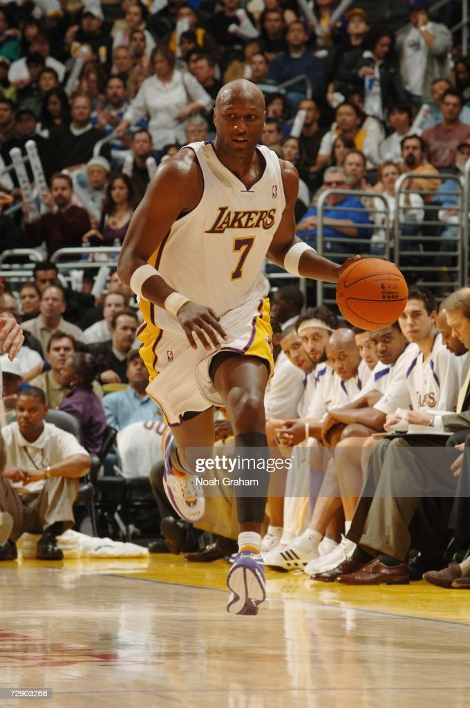 Lamar Odom #7 of the Los Angeles Lakers pushes the ball upcourt against the San Antonio Spurs during the game at Staples Center on December 10, 2006 in Los Angeles, California. The Lakers won 106-99.