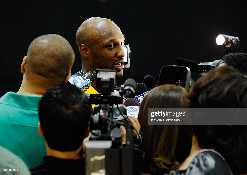 <a gi-track='captionPersonalityLinkClicked' href=/galleries/search?phrase=Lamar+Odom&family=editorial&specificpeople=201519 ng-click='$event.stopPropagation()'>Lamar Odom</a> #7 of the Los Angeles Lakers talks to reporters during Media Day at the Toyota Center on September 25, 2010 in El Segundo, California.