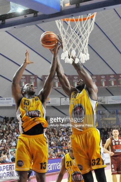Lamar Patterson and Andre Jones Trevor Mbakwe of Fiat in action during the LBA LegaBasket of Serie A match between Reyer Umana Venezia and Auxilium...