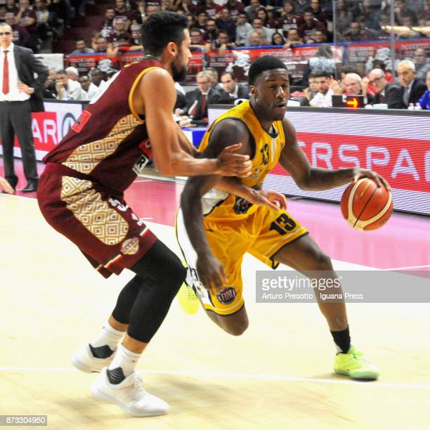 Lamar Patterson of Fiat competes with Mitchell Watt of Umana during the LBA LegaBasket of Serie A match between Reyer Umana Venezia and Auxilium Fiat...