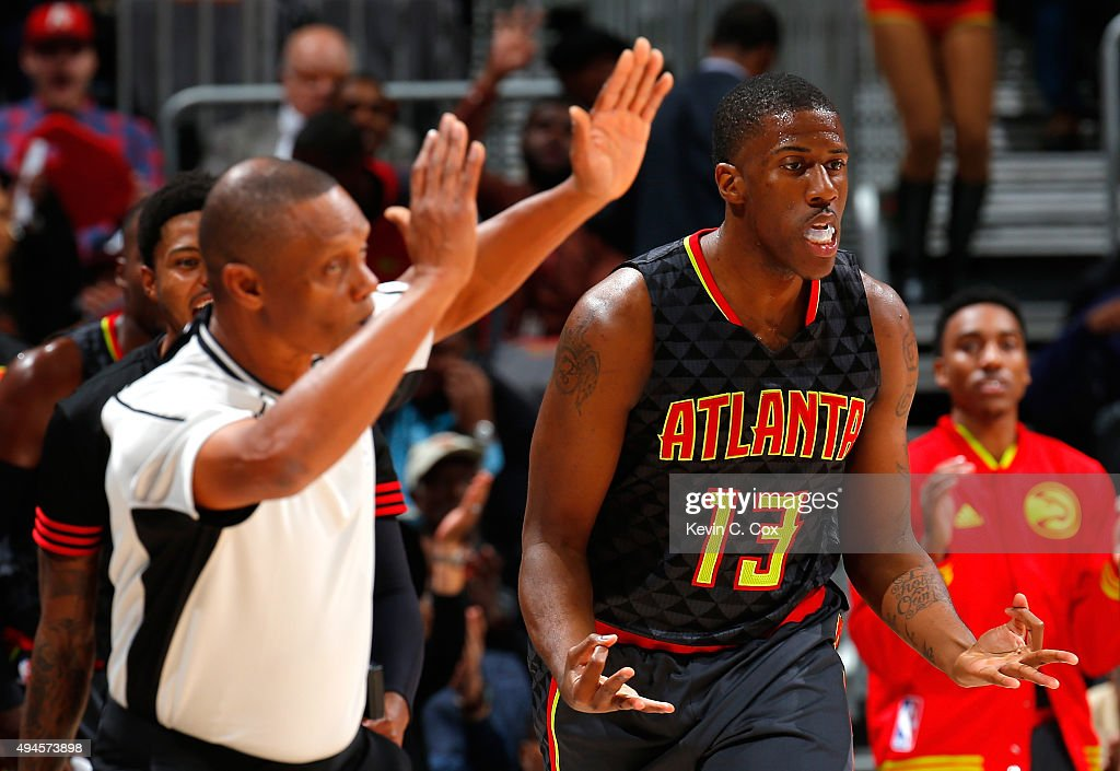 <a gi-track='captionPersonalityLinkClicked' href=/galleries/search?phrase=Lamar+Patterson&family=editorial&specificpeople=6480704 ng-click='$event.stopPropagation()'>Lamar Patterson</a> #13 of the Atlanta Hawks reacts after hitting a three-point basket against the Detroit Pistons at Philips Arena on October 27, 2015 in Atlanta, Georgia. NOTE TO USER User expressly acknowledges and agrees that, by downloading andor using this photograph, user is consenting to the terms and conditions of the Getty Images License Agreement.