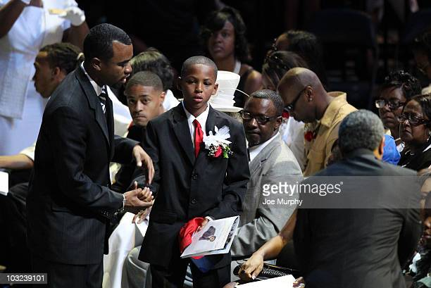 Lamar Wright son of Lorenzen Wright during a memorial service honoring the life of Lorenzen Wright on August 4 2010 at FedExForum in Memphis...