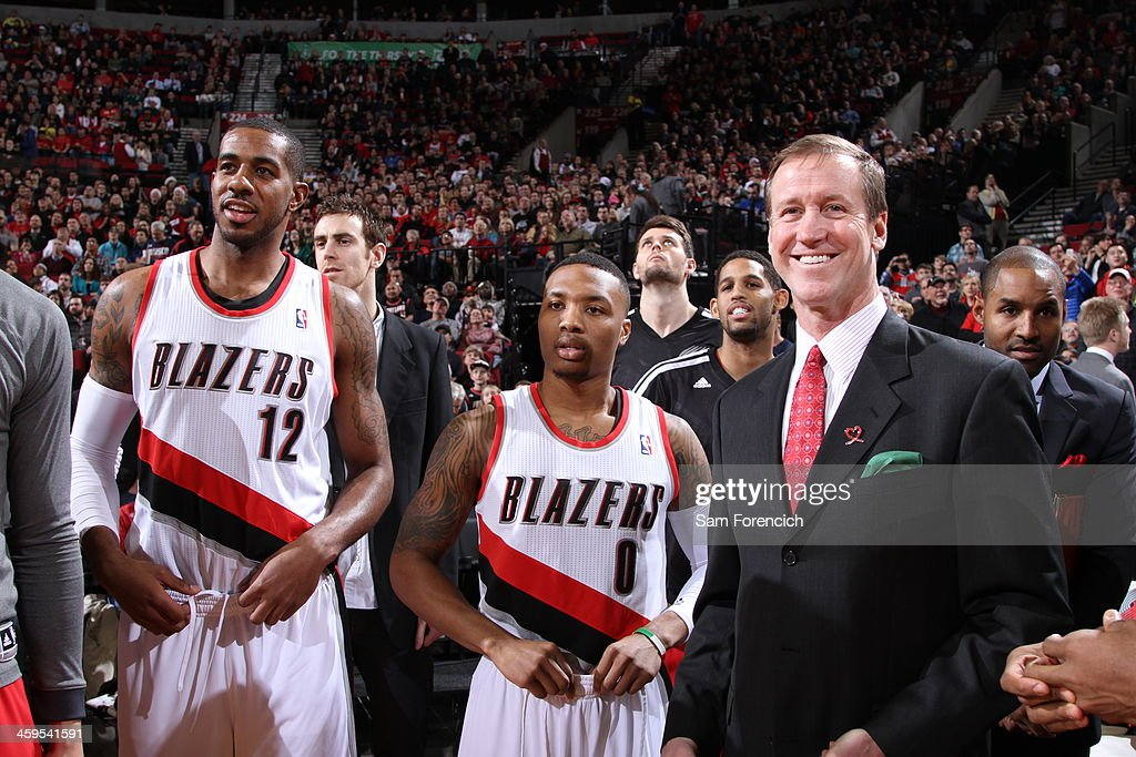 <a gi-track='captionPersonalityLinkClicked' href=/galleries/search?phrase=LaMarcus+Aldridge&family=editorial&specificpeople=453277 ng-click='$event.stopPropagation()'>LaMarcus Aldridge</a> #12, <a gi-track='captionPersonalityLinkClicked' href=/galleries/search?phrase=Damian+Lillard&family=editorial&specificpeople=6598327 ng-click='$event.stopPropagation()'>Damian Lillard</a> #0 and <a gi-track='captionPersonalityLinkClicked' href=/galleries/search?phrase=Terry+Stotts&family=editorial&specificpeople=653534 ng-click='$event.stopPropagation()'>Terry Stotts</a> of the Portland Trail Blazers smile after the game against the New Orleans Pelicans on December 21, 2013 at the Moda Center Arena in Portland, Oregon.