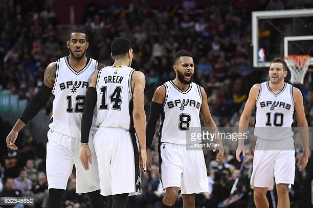 LaMarcus Aldridge Danny Green Patty Mills David Lee of the San Antonio Spurs celebrate during the second half against the Cleveland Cavaliers at...