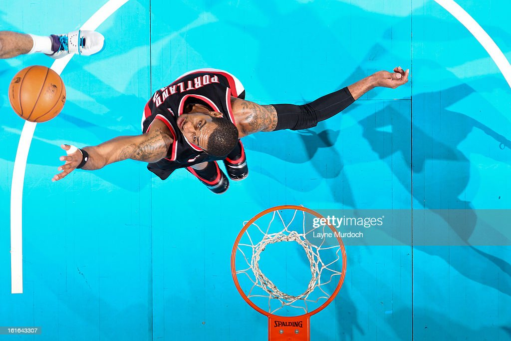 <a gi-track='captionPersonalityLinkClicked' href=/galleries/search?phrase=LaMarcus+Aldridge&family=editorial&specificpeople=453277 ng-click='$event.stopPropagation()'>LaMarcus Aldridge</a> #12 of the Portland Trail Blazers attempts to block a shot attempt by the New Orleans Hornets on February 13, 2013 at the New Orleans Arena in New Orleans, Louisiana.