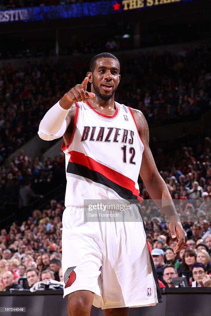 <a gi-track='captionPersonalityLinkClicked' href=/galleries/search?phrase=LaMarcus+Aldridge&family=editorial&specificpeople=453277 ng-click='$event.stopPropagation()'>LaMarcus Aldridge</a> #12 of the Portland Trail Blazers celebrates a call against the Minnesota Timberwolves on November 23, 2012 at the Rose Garden Arena in Portland, Oregon.