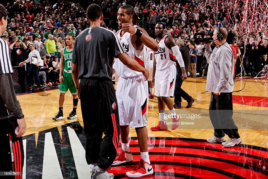 LaMarcus Aldridge #12 of the Portland Trail Blazers celebrates following his team's victory against the Boston Celtics on February 24, 2013 at the Rose Garden Arena in Portland, Oregon.
