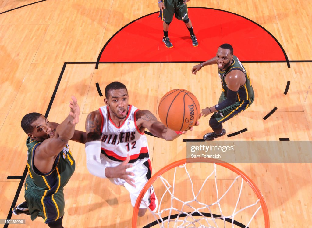 <a gi-track='captionPersonalityLinkClicked' href=/galleries/search?phrase=LaMarcus+Aldridge&family=editorial&specificpeople=453277 ng-click='$event.stopPropagation()'>LaMarcus Aldridge</a> #12 of the Portland Trail Blazers drives to the basket against the Utah Jazz on February 3, 2013 at the Rose Garden Arena in Portland, Oregon.