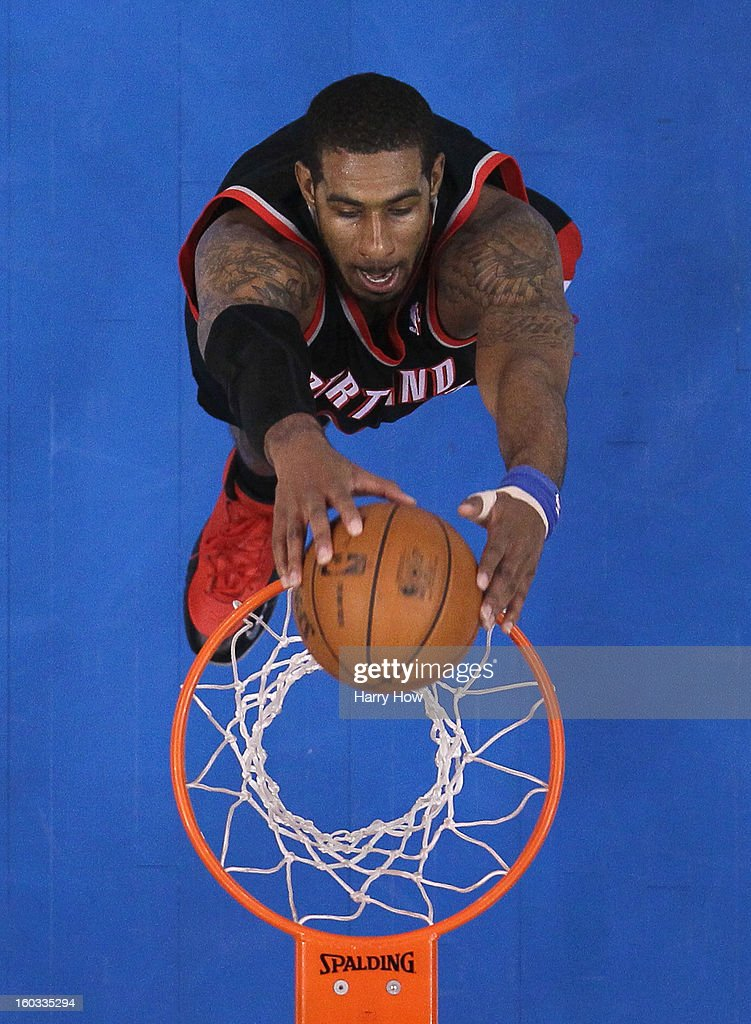 <a gi-track='captionPersonalityLinkClicked' href=/galleries/search?phrase=LaMarcus+Aldridge&family=editorial&specificpeople=453277 ng-click='$event.stopPropagation()'>LaMarcus Aldridge</a> #12 of the Portland Trail Blazers dunks during the game against the Los Angeles Clippers at Staples Center on January 27, 2013 in Los Angeles, California.