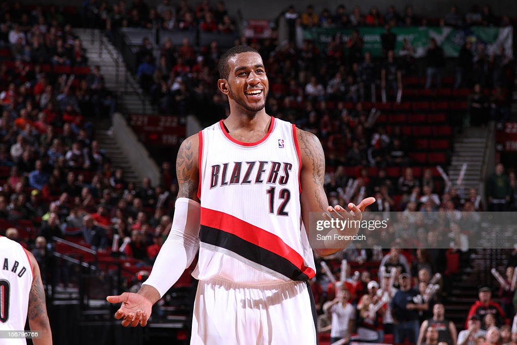LaMarcus Aldridge #12 of the Portland Trail Blazers during the game against the Chicago Bulls on November 18, 2012 at the Rose Garden Arena in Portland, Oregon.