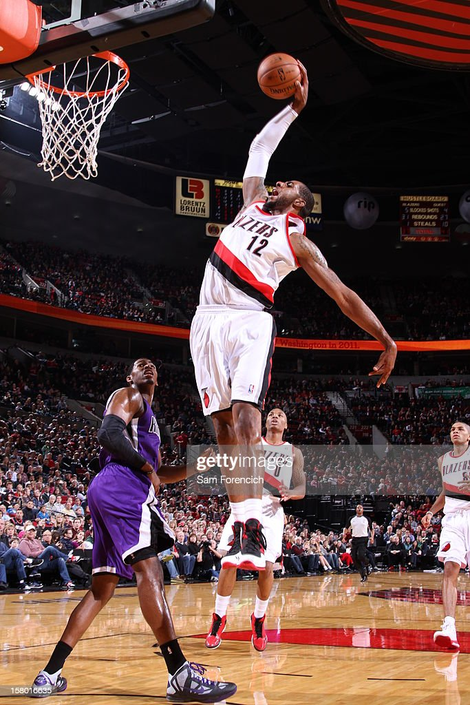 <a gi-track='captionPersonalityLinkClicked' href=/galleries/search?phrase=LaMarcus+Aldridge&family=editorial&specificpeople=453277 ng-click='$event.stopPropagation()'>LaMarcus Aldridge</a> #12 of the Portland Trail Blazers goes to the basket during the game between the Sacramento Kings and the Portland Trail Blazers on December 8, 2012 at the Rose Garden Arena in Portland, Oregon.