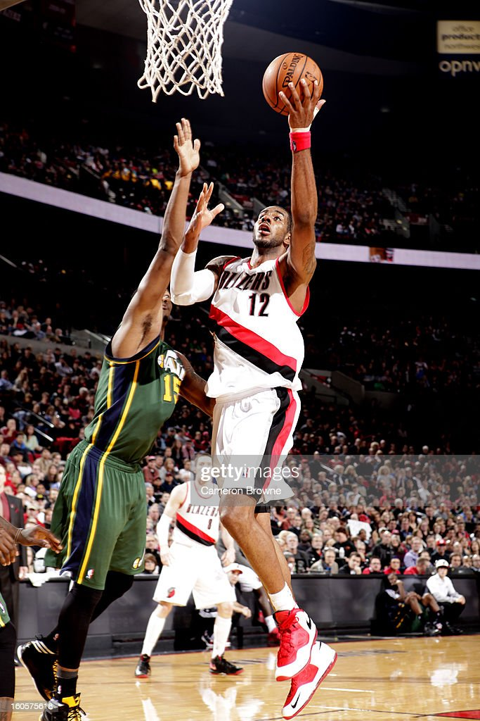 LaMarcus Aldridge #12 of the Portland Trail Blazers goes to the basket during the game between the Utah Jazz and the Portland Trail Blazers on February 2, 2013 at the Rose Garden Arena in Portland, Oregon.