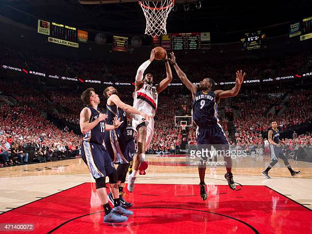 LaMarcus Aldridge of the Portland Trail Blazers goes up for a shot against the Memphis Grizzlies in Game Four of the Western Conference Quarterfinals...
