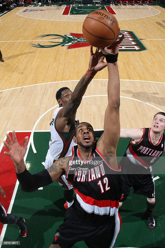 <a gi-track='captionPersonalityLinkClicked' href=/galleries/search?phrase=LaMarcus+Aldridge&family=editorial&specificpeople=453277 ng-click='$event.stopPropagation()'>LaMarcus Aldridge</a> #12 of the Portland Trail Blazers goes up for the ball against the Milwaukee Bucks on March 19, 2013 at the BMO Harris Bradley Center in Milwaukee, Wisconsin.