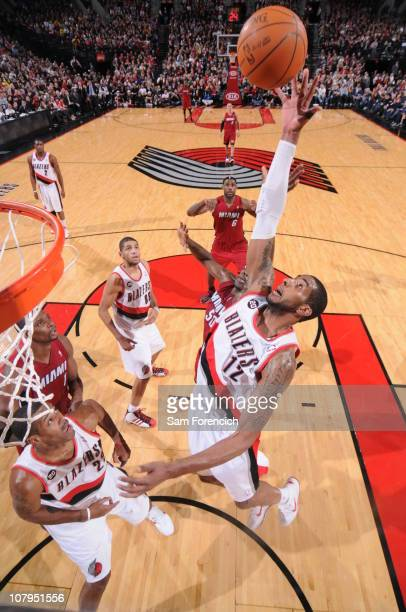 LaMarcus Aldridge of the Portland Trail Blazers grabs a rebound during a game against the Miami Heat on January 9 2011 at the Rose Garden Arena in...