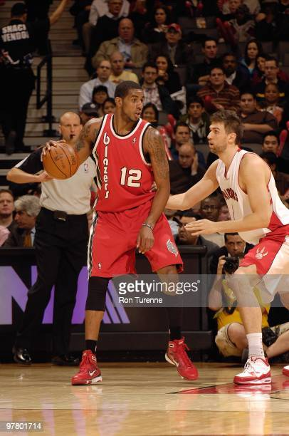 LaMarcus Aldridge of the Portland Trail Blazers handles the ball against Andrea Bargnani of the Toronto Raptors during the game on February 24 2010...