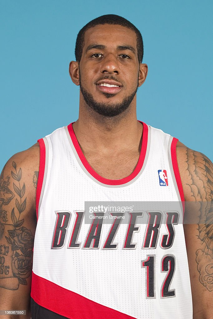 <a gi-track='captionPersonalityLinkClicked' href=/galleries/search?phrase=LaMarcus+Aldridge&family=editorial&specificpeople=453277 ng-click='$event.stopPropagation()'>LaMarcus Aldridge</a> #12 of the Portland Trail Blazers poses for a portrait during Media Day on December 16, 2011 at the Rose Garden Arena in Portland, Oregon.