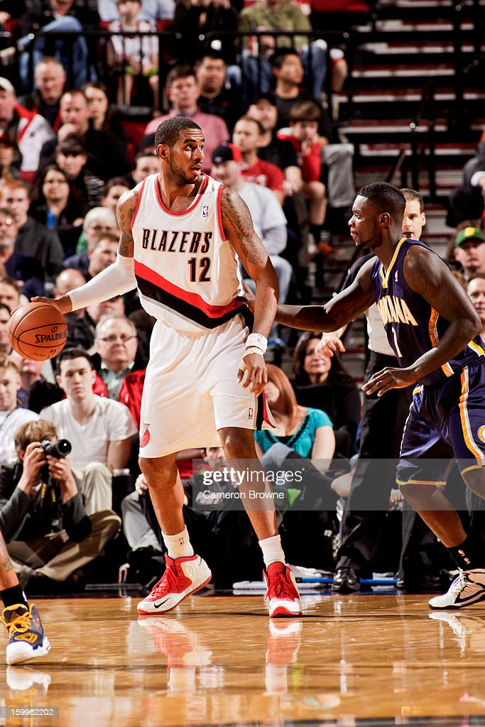 <a gi-track='captionPersonalityLinkClicked' href=/galleries/search?phrase=LaMarcus+Aldridge&family=editorial&specificpeople=453277 ng-click='$event.stopPropagation()'>LaMarcus Aldridge</a> #12 of the Portland Trail Blazers posts-up against <a gi-track='captionPersonalityLinkClicked' href=/galleries/search?phrase=Lance+Stephenson&family=editorial&specificpeople=5298304 ng-click='$event.stopPropagation()'>Lance Stephenson</a> #1 of the Indiana Pacers on January 23, 2013 at the Rose Garden Arena in Portland, Oregon.