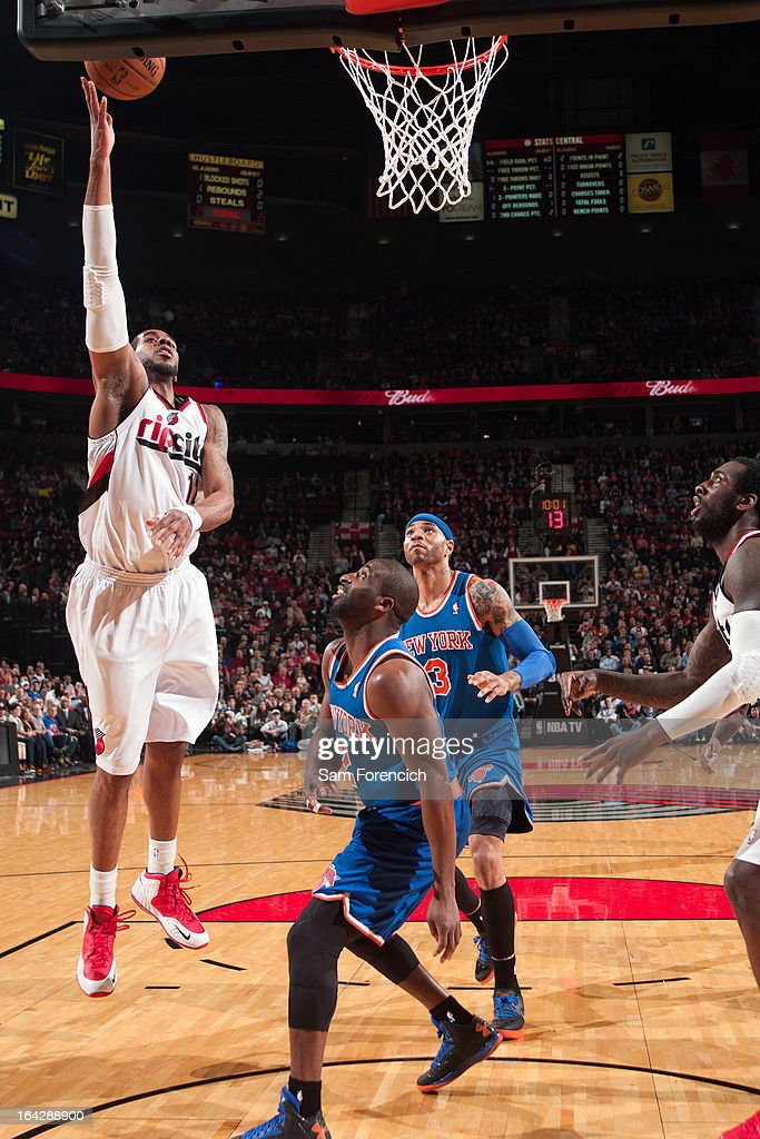 <a gi-track='captionPersonalityLinkClicked' href=/galleries/search?phrase=LaMarcus+Aldridge&family=editorial&specificpeople=453277 ng-click='$event.stopPropagation()'>LaMarcus Aldridge</a> #12 of the Portland Trail Blazers puts up a shot against the New York Knicks on March 14, 2013 at the Rose Garden Arena in Portland, Oregon.