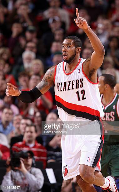 LaMarcus Aldridge of the Portland Trail Blazers reacts to the game action against the Milwaukee Bucks on March 20 2012 at the Rose Garden Arena in...