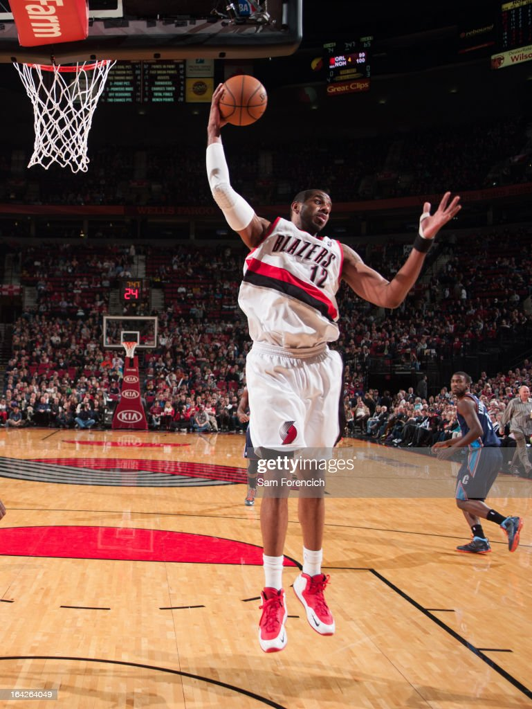 <a gi-track='captionPersonalityLinkClicked' href=/galleries/search?phrase=LaMarcus+Aldridge&family=editorial&specificpeople=453277 ng-click='$event.stopPropagation()'>LaMarcus Aldridge</a> #12 of the Portland Trail Blazers rebounds against the Charlotte Bobcats on March 4, 2013 at the Rose Garden Arena in Portland, Oregon.