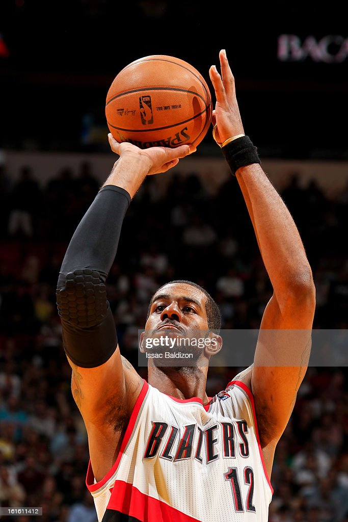 <a gi-track='captionPersonalityLinkClicked' href=/galleries/search?phrase=LaMarcus+Aldridge&family=editorial&specificpeople=453277 ng-click='$event.stopPropagation()'>LaMarcus Aldridge</a> #12 of the Portland Trail Blazers shoots a free-throw against the Miami Heat on February 12, 2013 at American Airlines Arena in Miami, Florida.