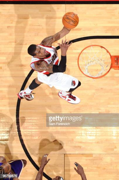 LaMarcus Aldridge of the Portland Trail Blazers shoots a layup during the game against the Los Angeles Lakers at The Rose Garden on February 6 2010...